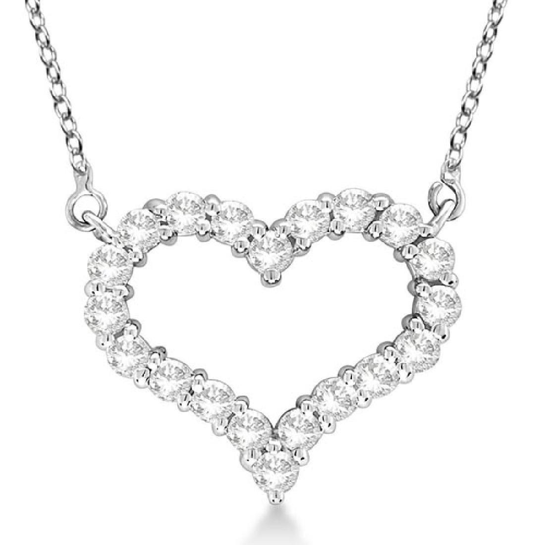 Open Heart Diamond Pendant Necklace 14k White Gold (3.1