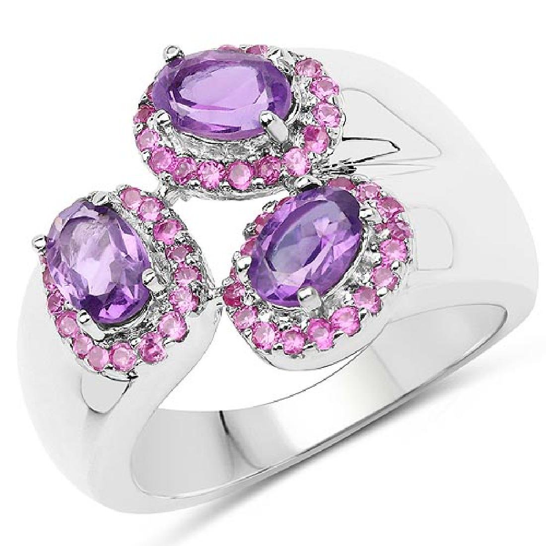 2.34 Carat Amethyst and Created Ruby .925 Sterling Silv
