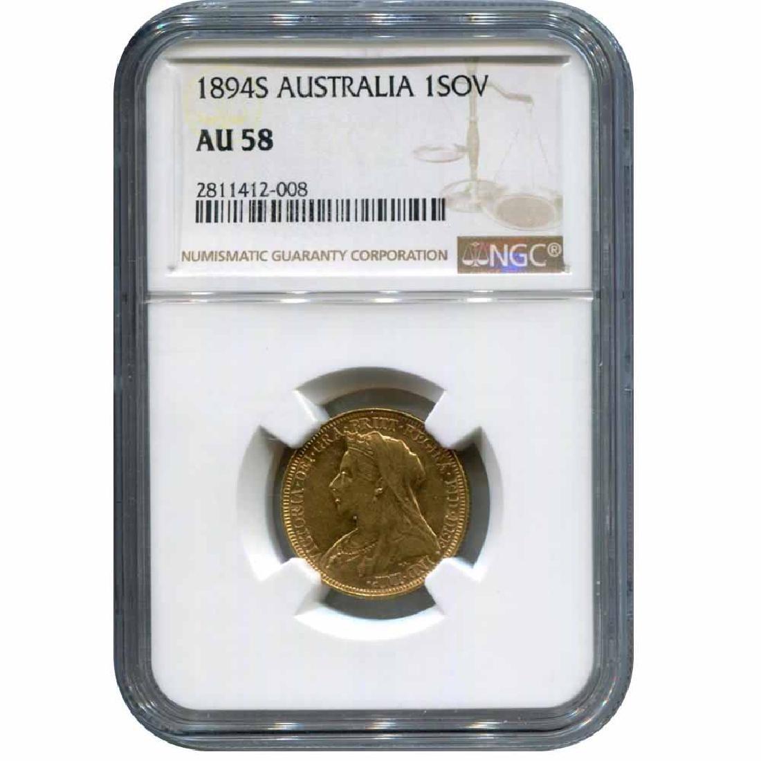 Australia gold sovereign 1894S AU58 NGC