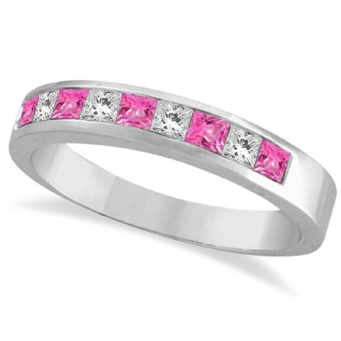 Princess Channel-Set Diamond and Pink Sapphire Ring Ban