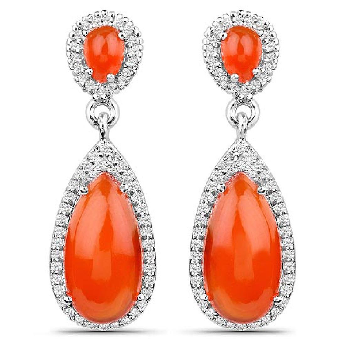 7.88 Carat Genuine Carnelian and White Topaz .925 Sterl