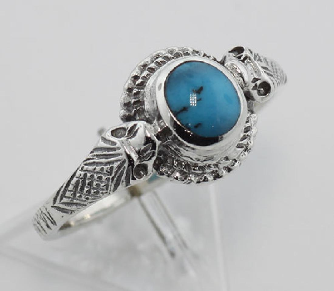 Turquoise Cobra Snake Ring - Sterling Silver