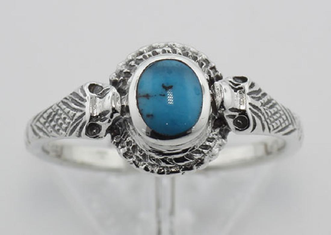 Turquoise Cobra Snake Ring - Sterling Silver - 2
