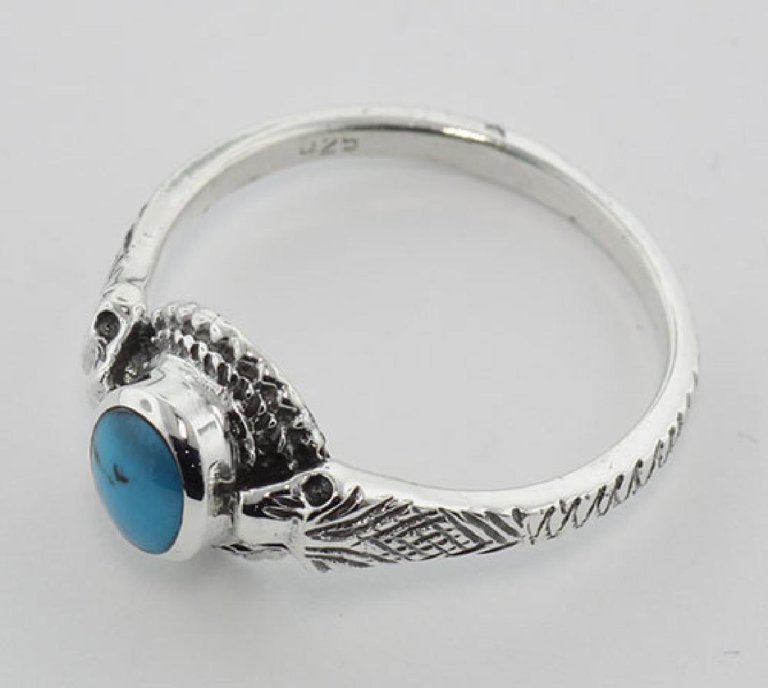 Turquoise Cobra Snake Ring - Sterling Silver - 3