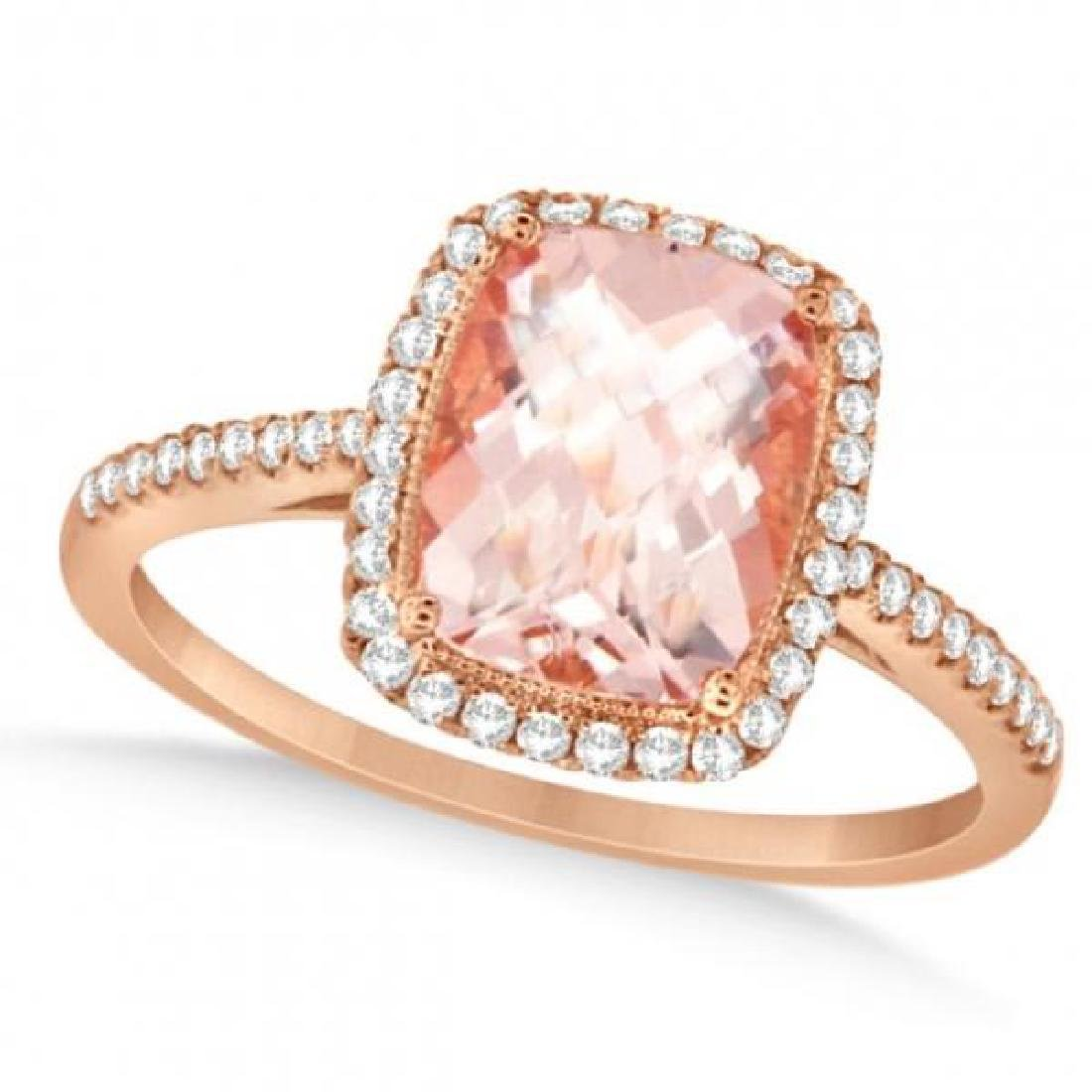 Cushion Cut Morganite and Diamond Halo Ring 14K Rose Go