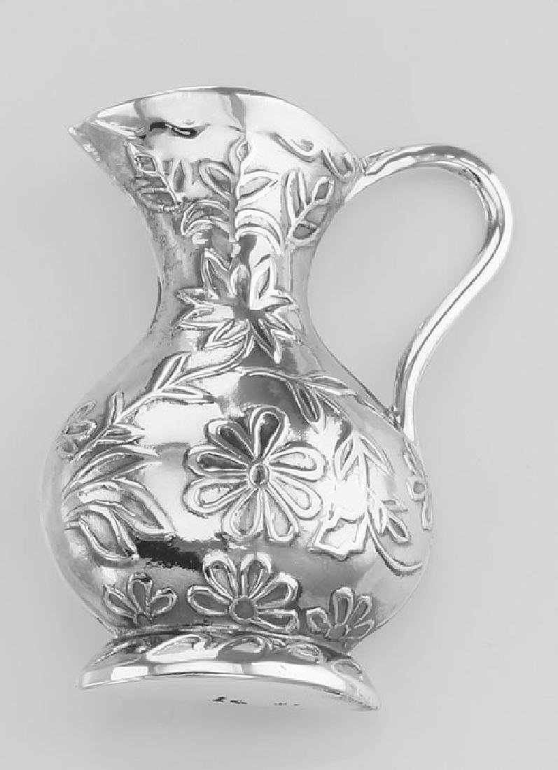 Antique Style Floral Pitcher Vase Pin - Sterling Silver - 2