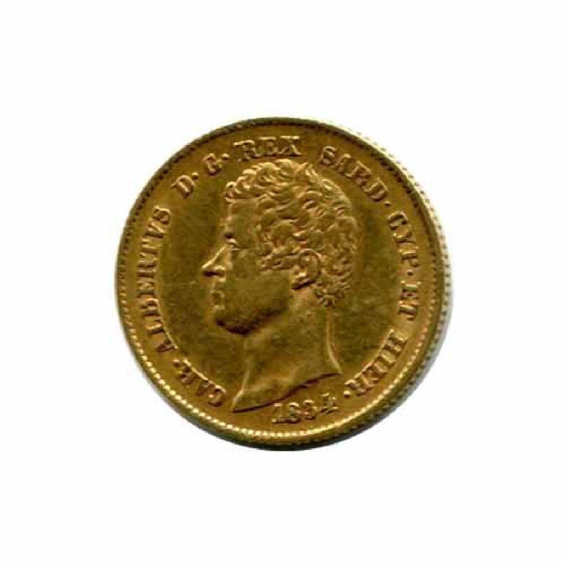 Italy Sardinia 20 lire gold 1831-1849 XF