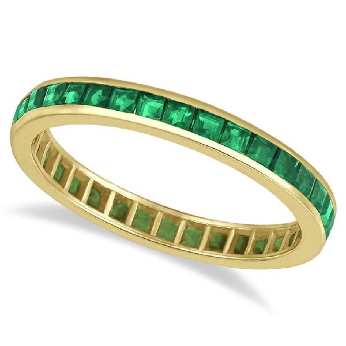 Princess-Cut Emerald Eternity Ring Band 14k Yellow Gold