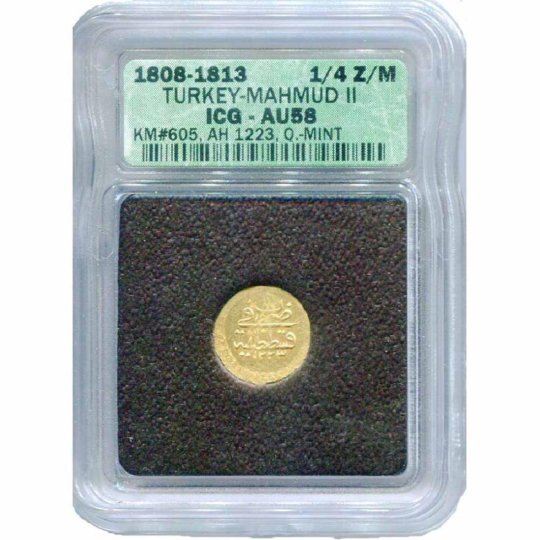 Turkey 1/4 Zeri Mahbub Gold 1223/1 1808 AU58