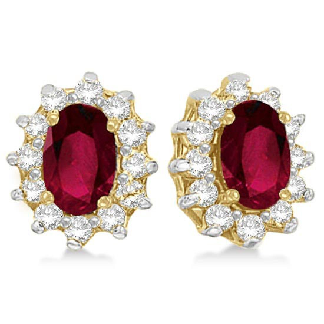 Oval Ruby and Diamond Accented Earrings 14k Yellow Gold