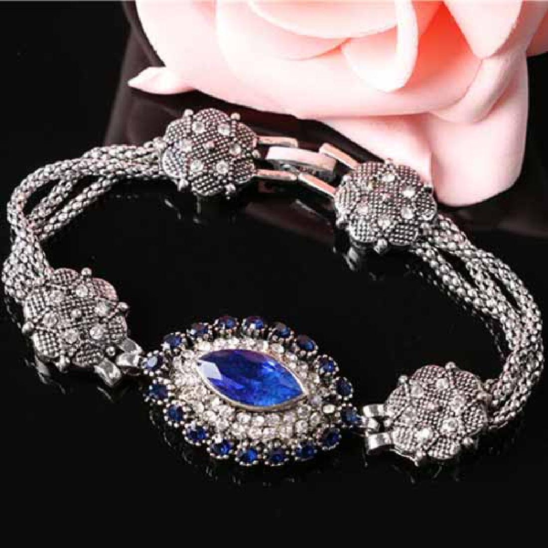 CREATED SAPPHIRE 18K GOLD PLATED GERMAN SILVER BRACELET