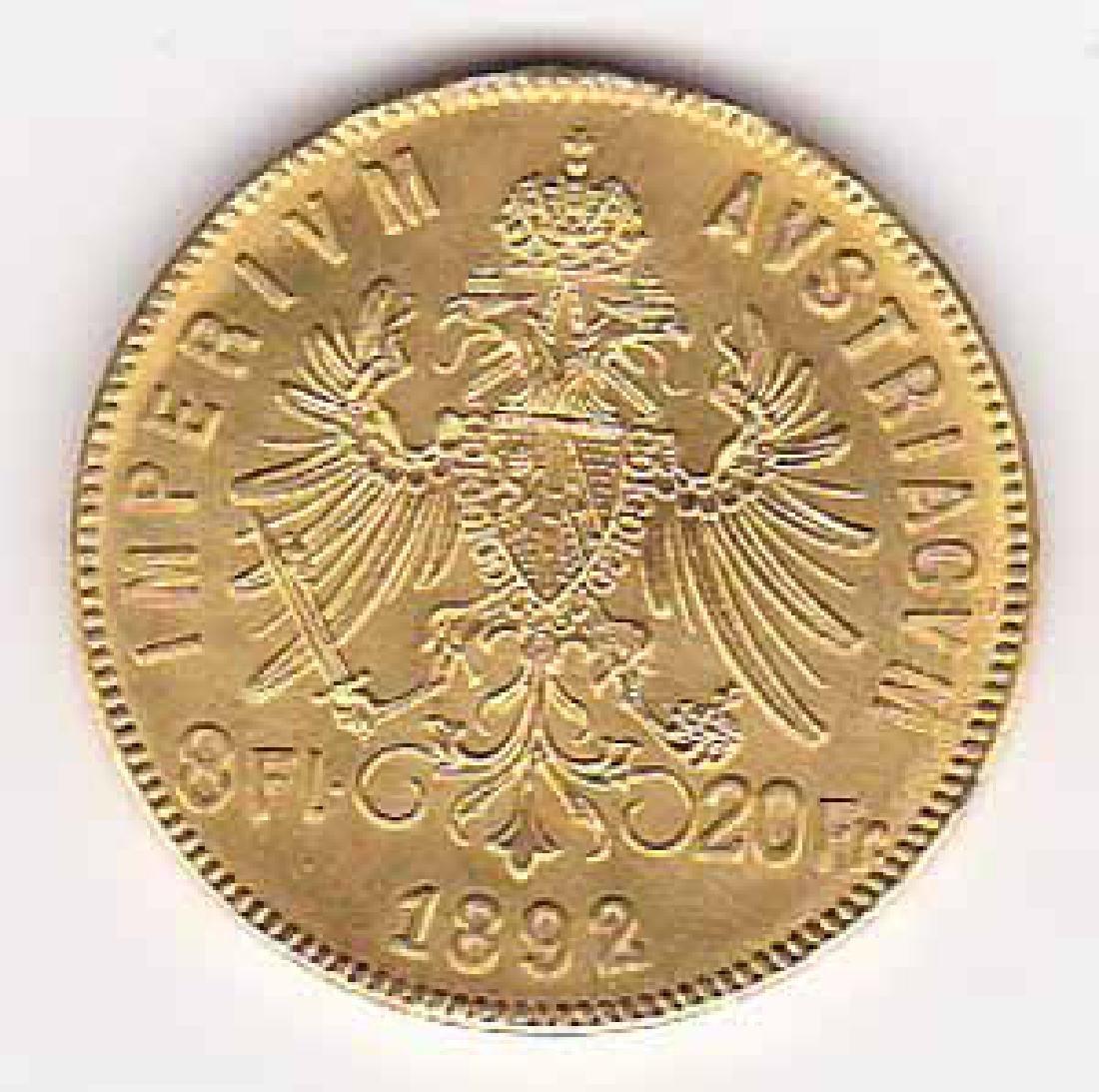 Austria gold 8 florin 20 francs 1892