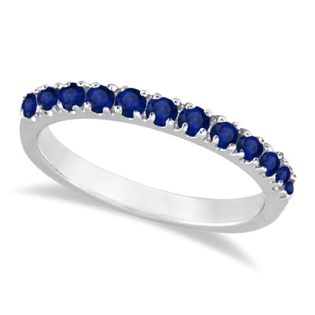 Blue Sapphire Stackable Ring/ Anniversary Band in 14k W
