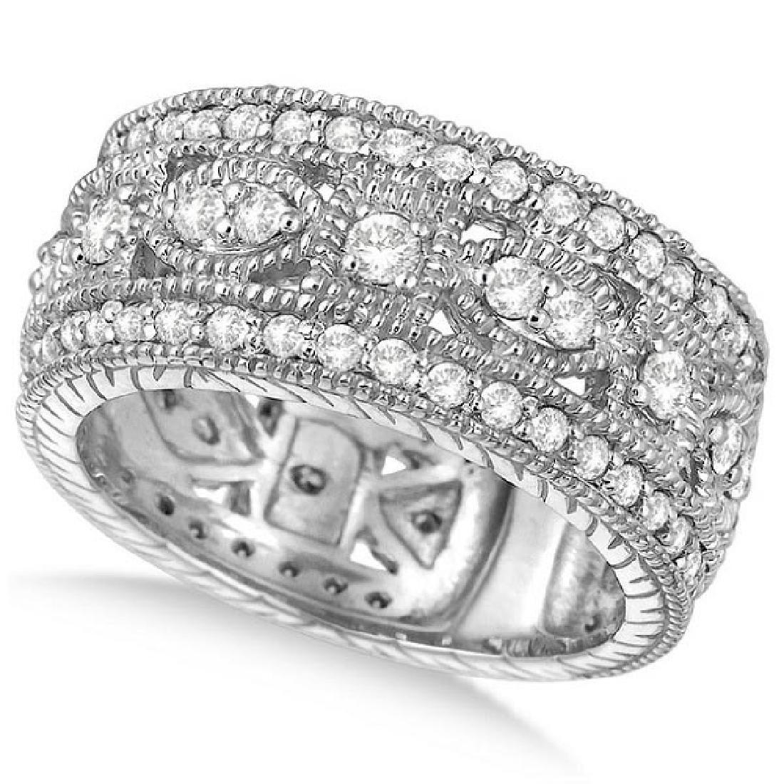 Vintage Style Byzantine Wide Band Diamond Ring 14k Whit