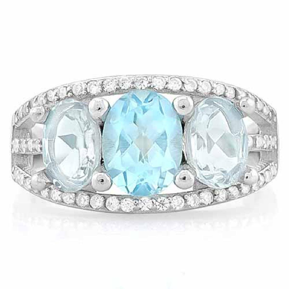 BABY SWISS BLUE TOPAZ & 3 CARAT AQUAMARINE 925 STERLING