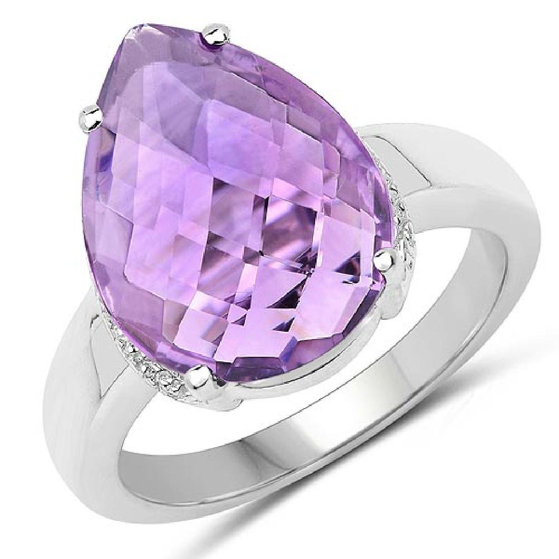 6.00 Carat Genuine Amethyst .925 Sterling Silver Ring