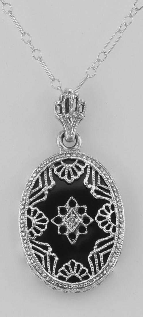 Beautiful Filigree Diamond Pendant w/ Black Onyx and Ch