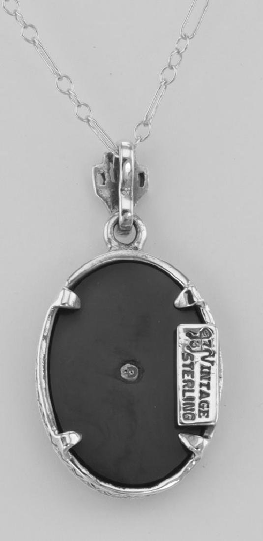 Beautiful Filigree Diamond Pendant w/ Black Onyx and Ch - 2