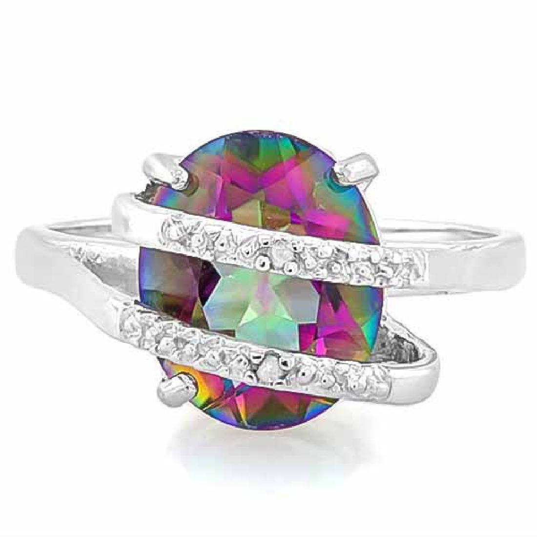 3 1/5 CARAT MYSTIC GEMSTONE & DIAMOND 925 STERLING SILV