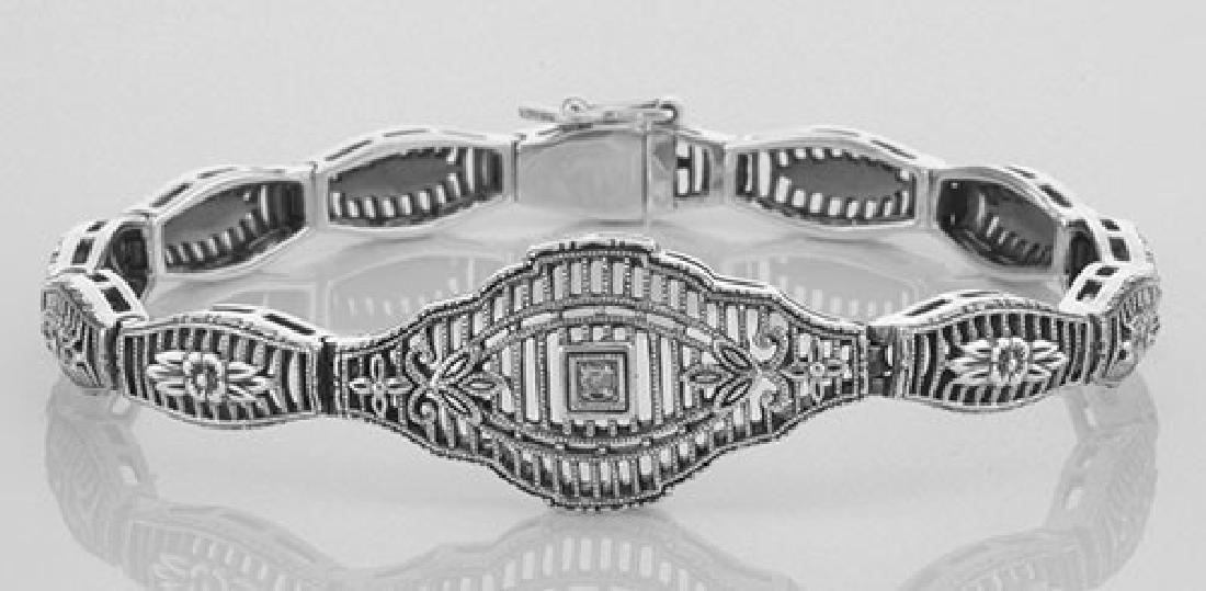 Victorian Style Filigree Bracelet w/ Diamond in Fine St
