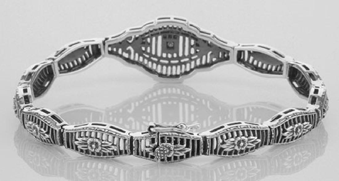 Victorian Style Filigree Bracelet w/ Diamond in Fine St - 2