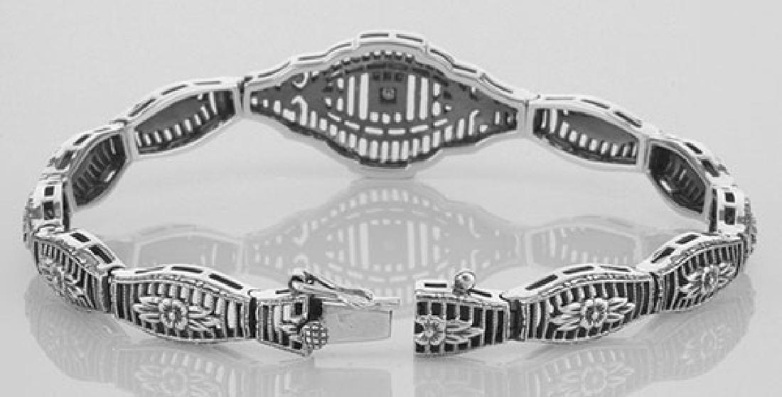 Victorian Style Filigree Bracelet w/ Diamond in Fine St - 3
