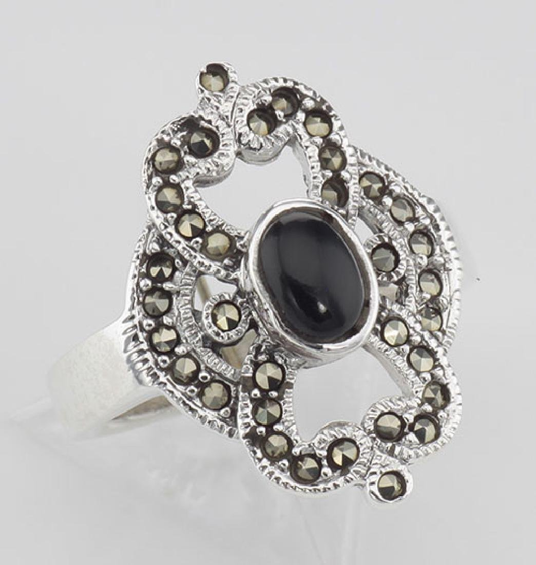 Antique Style Black Onyx and Marcasite Ring - Sterling