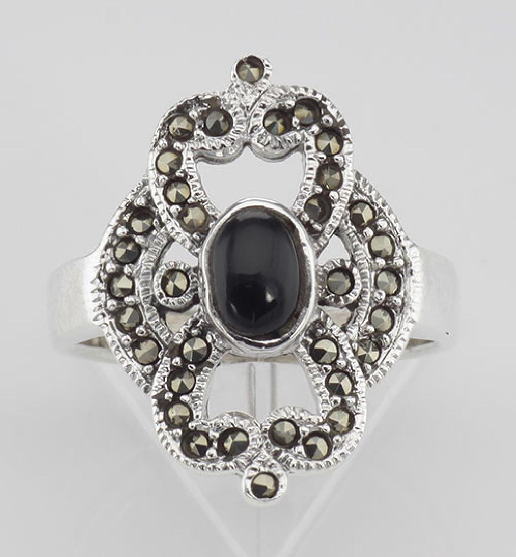 Antique Style Black Onyx and Marcasite Ring - Sterling - 2