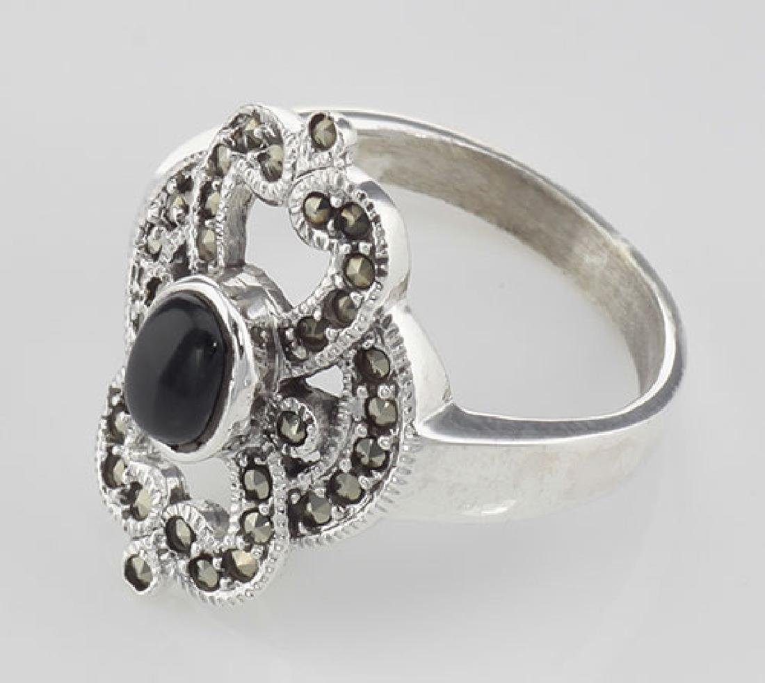 Antique Style Black Onyx and Marcasite Ring - Sterling - 3