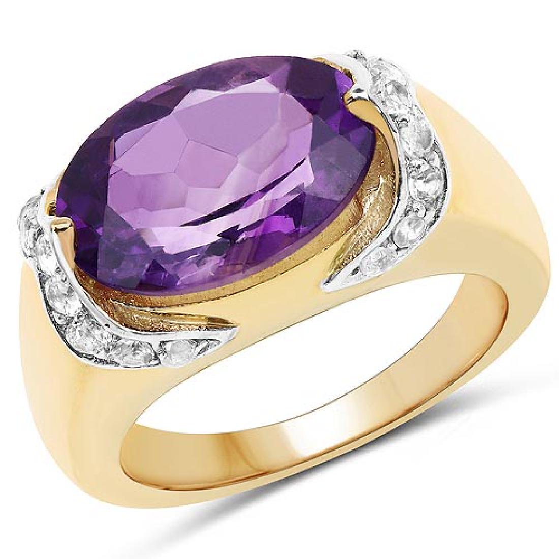 14K Yellow Gold Plated 4.98 Carat Genuine Amethyst and