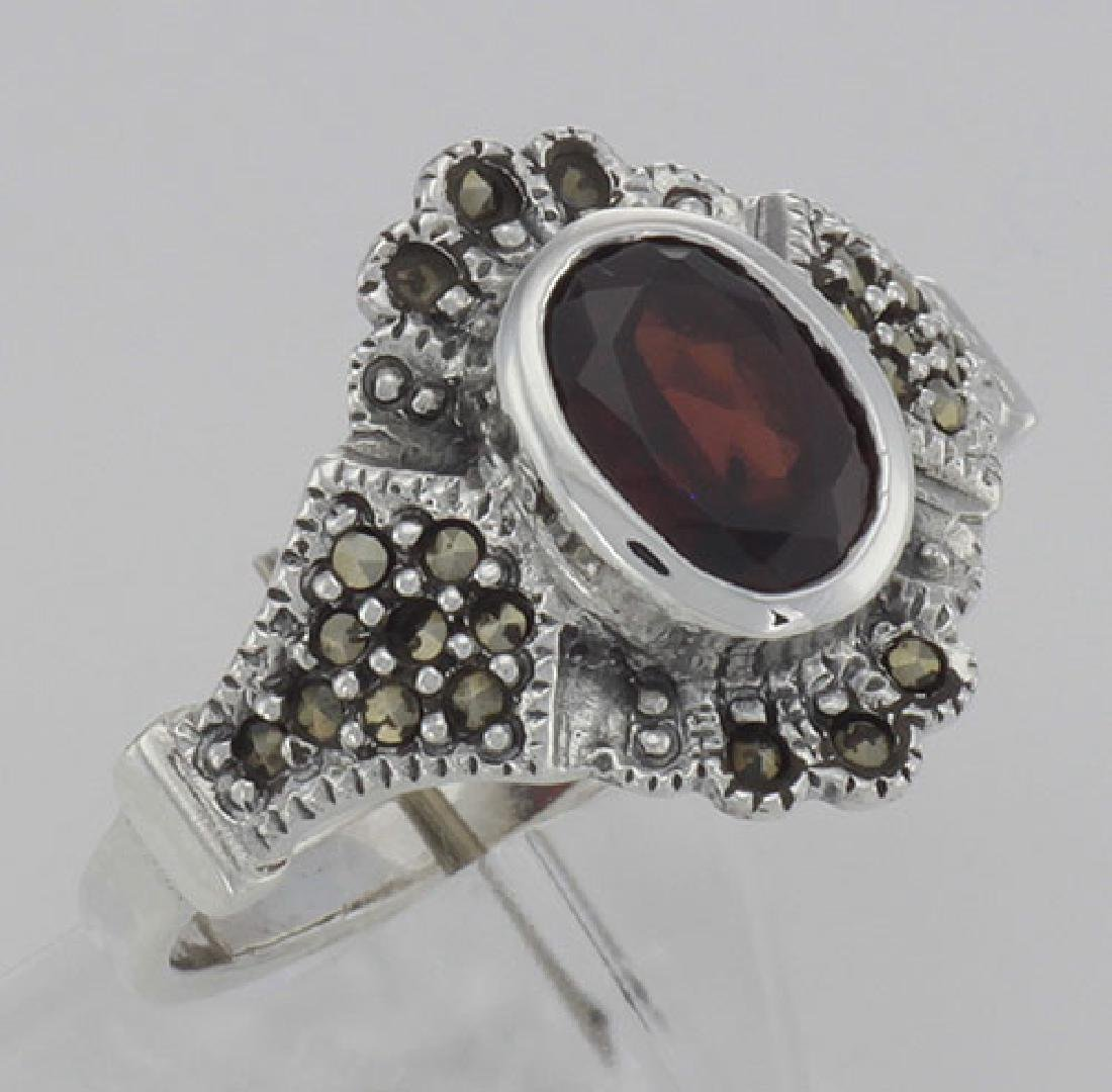 Antique Style Garnet and Marcasite Ring - Sterling Silv