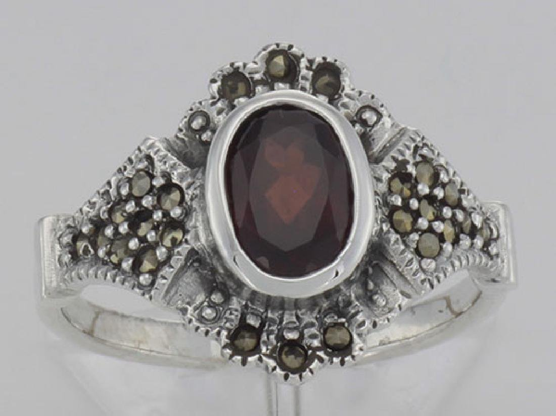 Antique Style Garnet and Marcasite Ring - Sterling Silv - 2