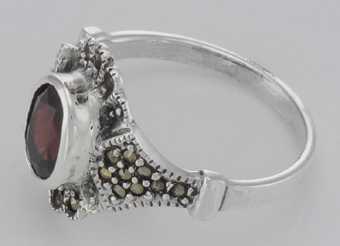 Antique Style Garnet and Marcasite Ring - Sterling Silv - 3