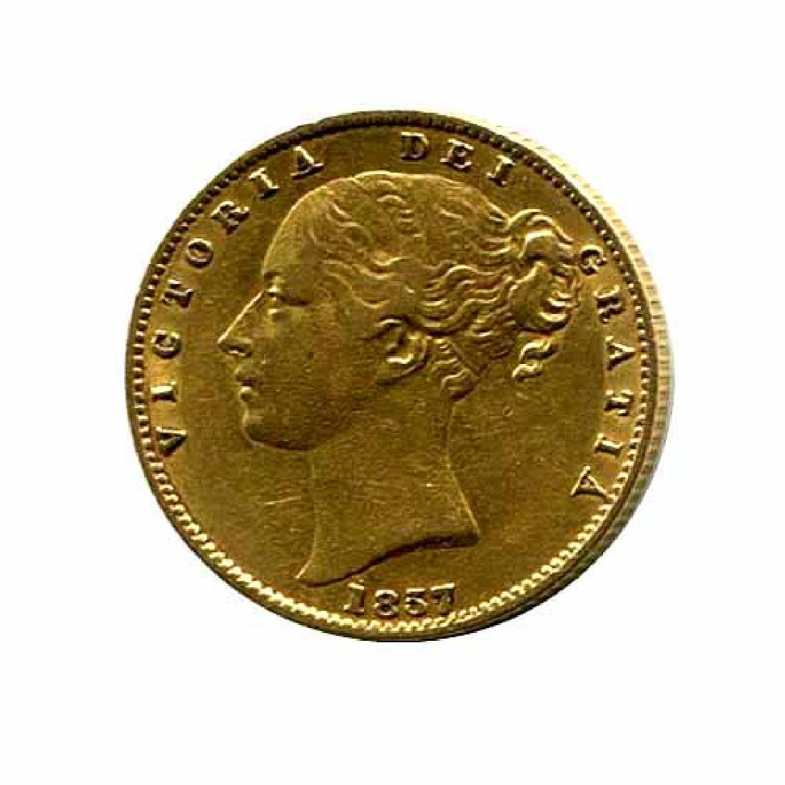 Great Britain Gold Sovereign 1857 Shield VF