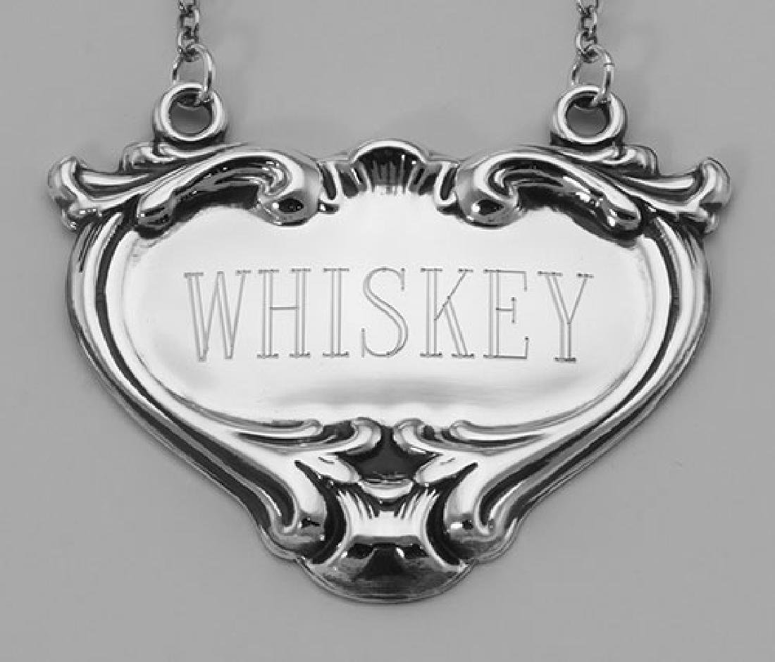 Whiskey Liquor Decanter Label / Tag - Sterling Silver