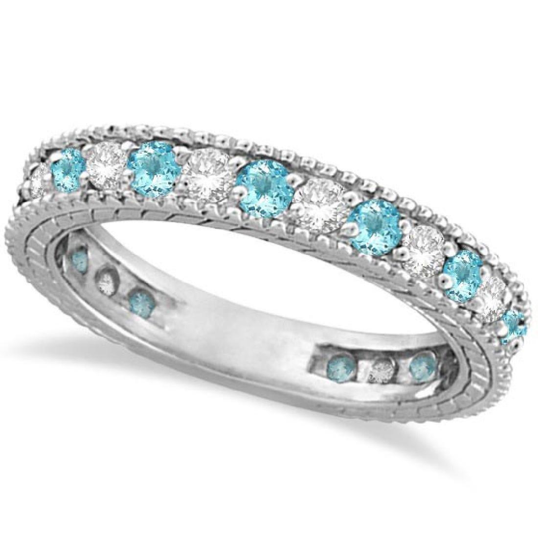 Diamond and Aquamarine Eternity Ring Band 14k White Gol