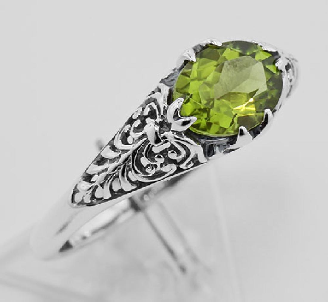 Peridot Filigree Ring - Sterling Silver
