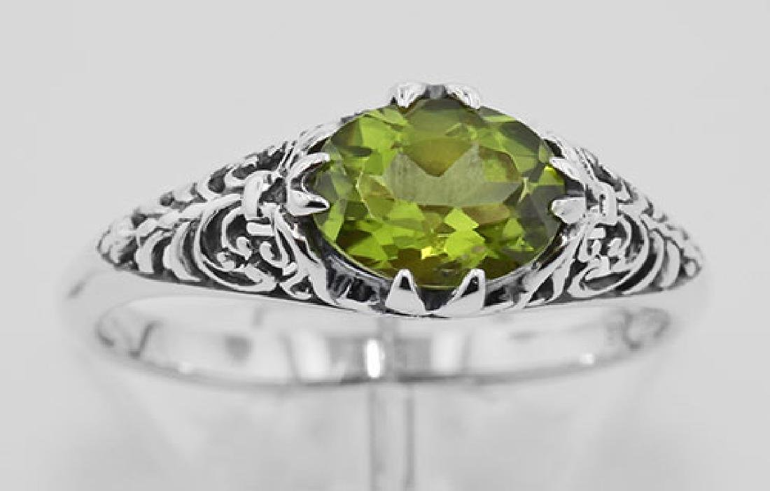 Peridot Filigree Ring - Sterling Silver - 2