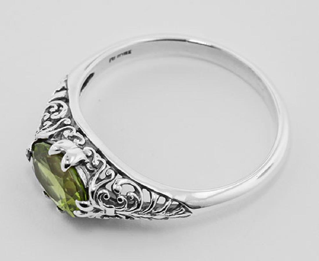 Peridot Filigree Ring - Sterling Silver - 3