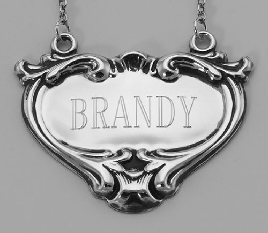 Brandy Liquor Decanter Label / Tag - Sterling Silver