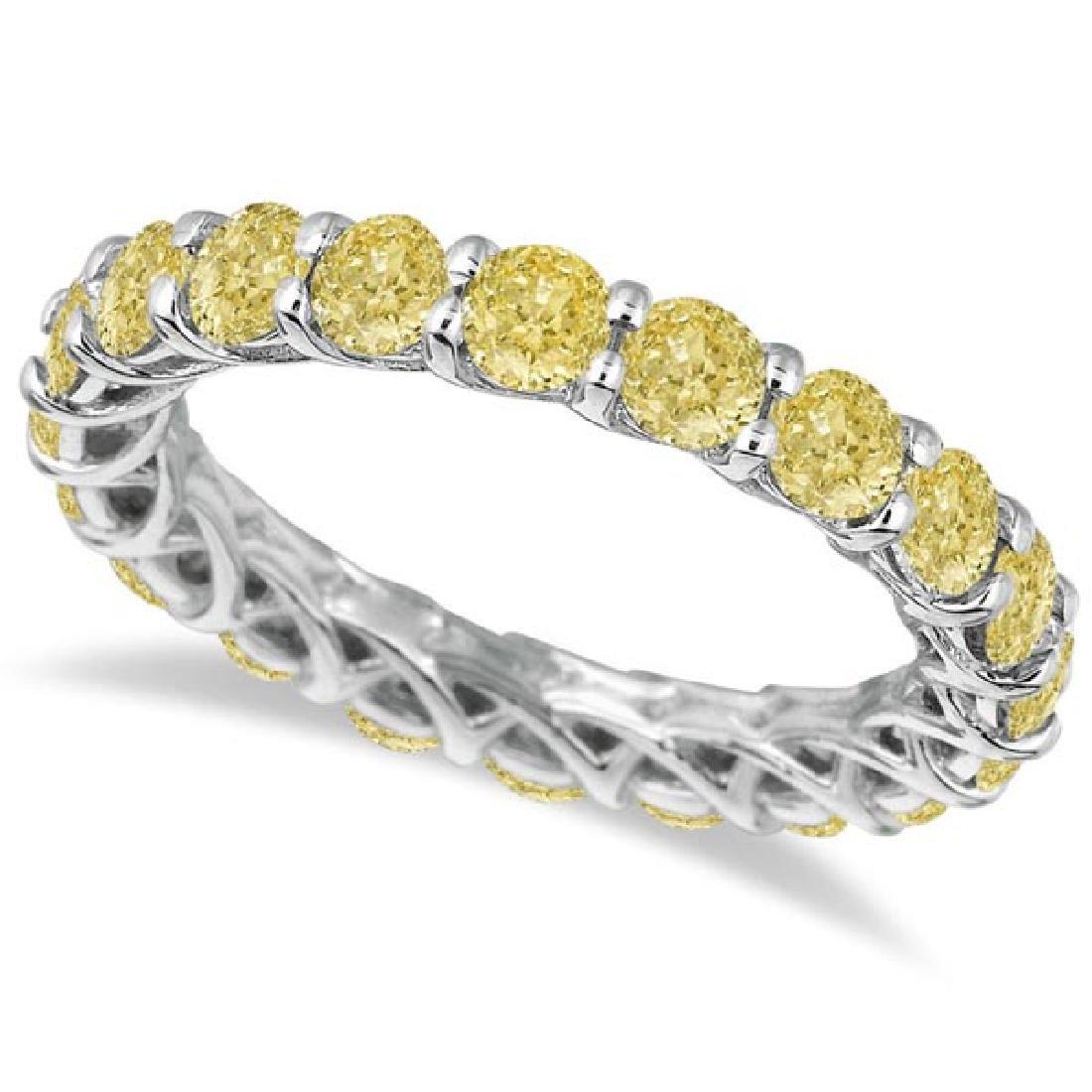 Fancy Yellow Canary Diamond Eternity Ring Band 14k Whit