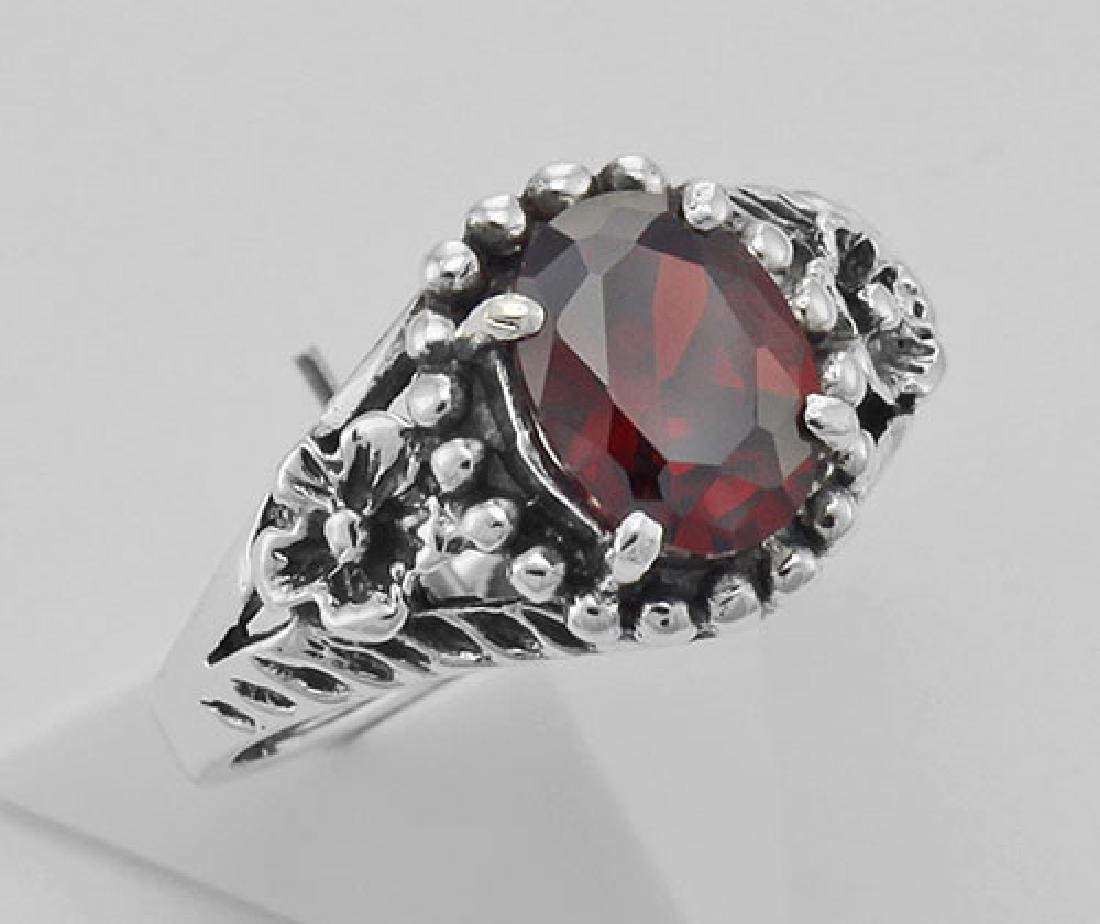 Synthetic Garnet Ring - Sterling Silver