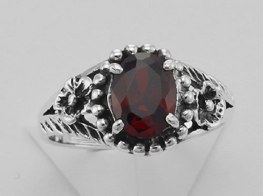 Synthetic Garnet Ring - Sterling Silver - 2
