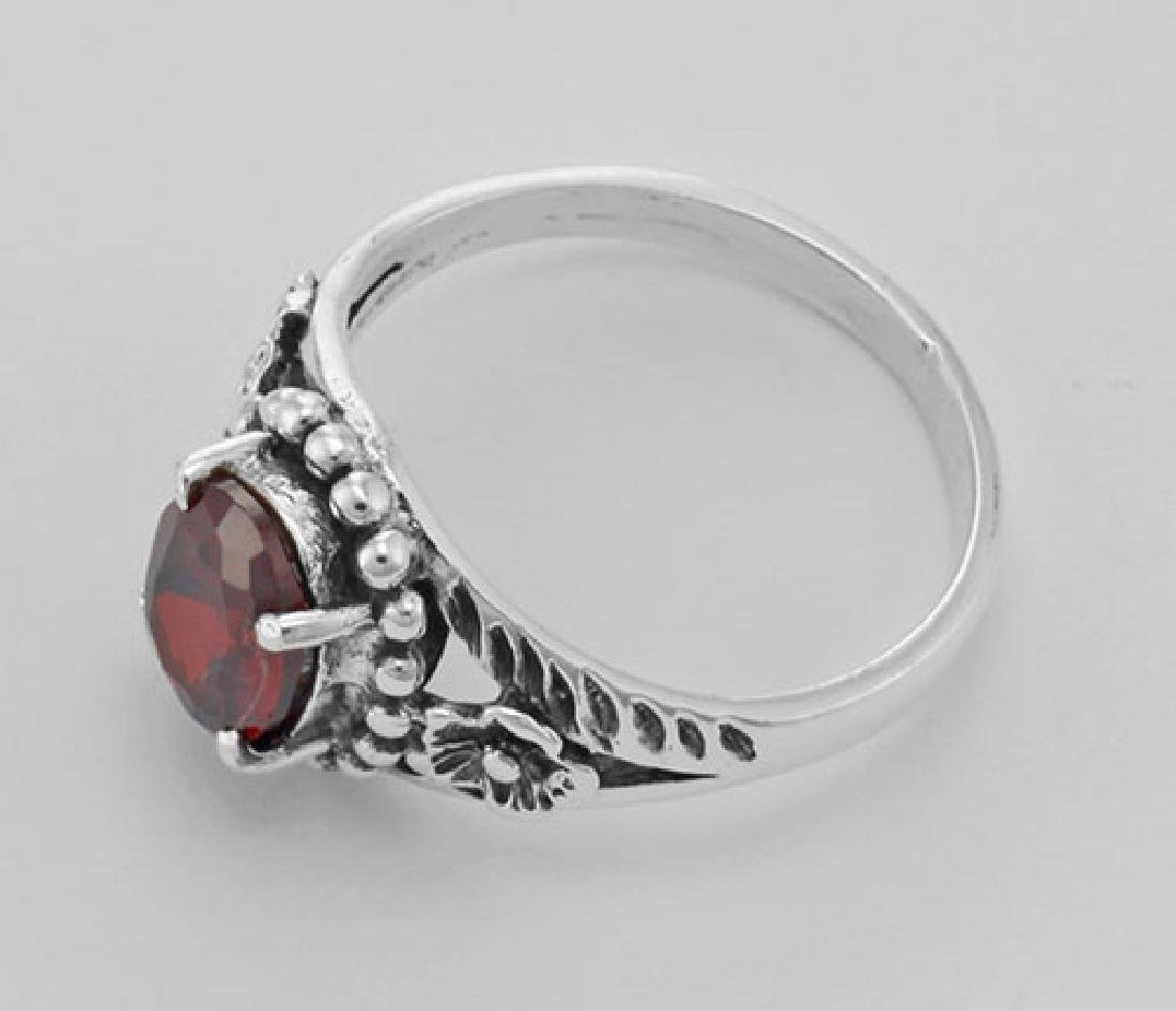 Synthetic Garnet Ring - Sterling Silver - 3