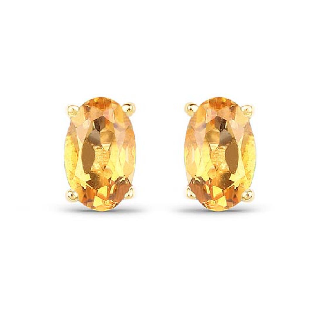 0.44 Carat Genuine Citrine 10K Yellow Gold Earrings