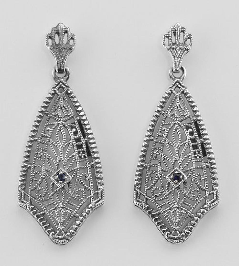 Filigree Earrings w/ Genuine Blue Sapphire - Sterling S