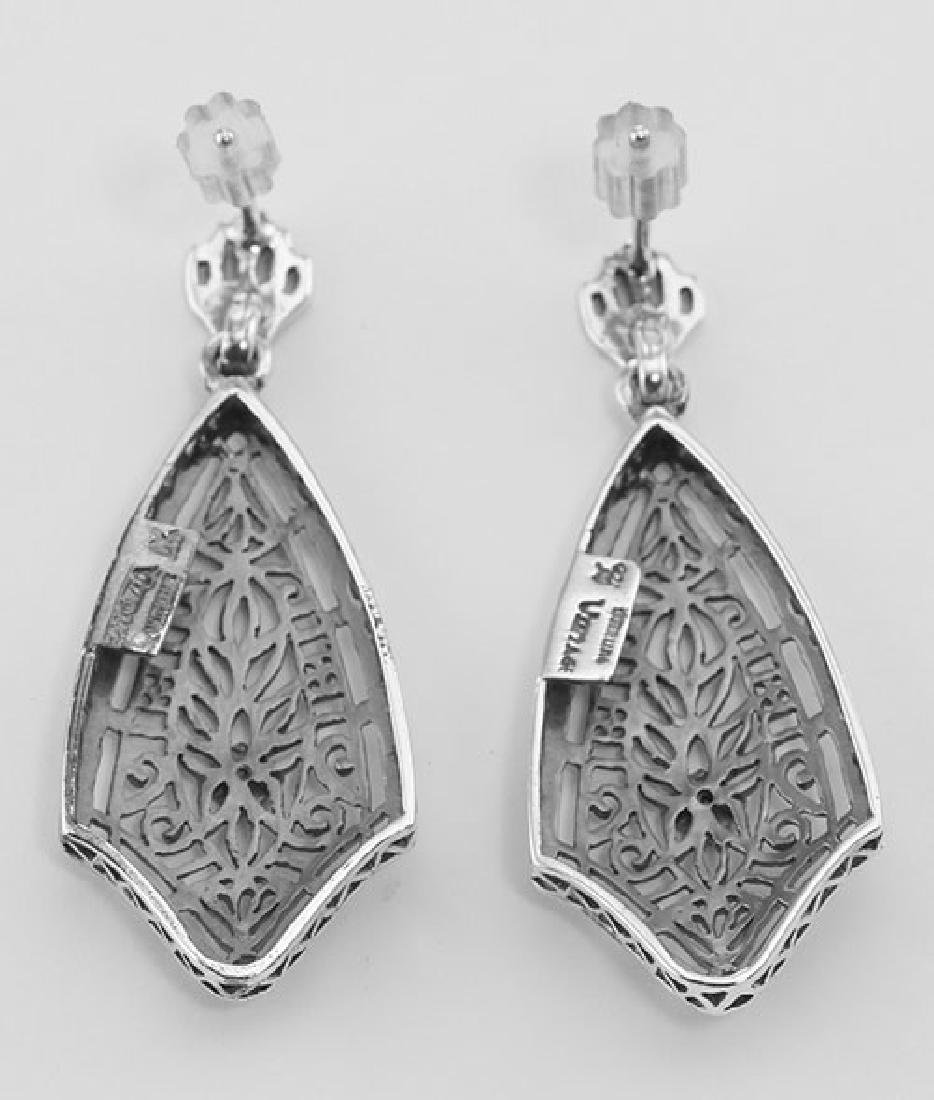 Filigree Earrings w/ Genuine Blue Sapphire - Sterling S - 2