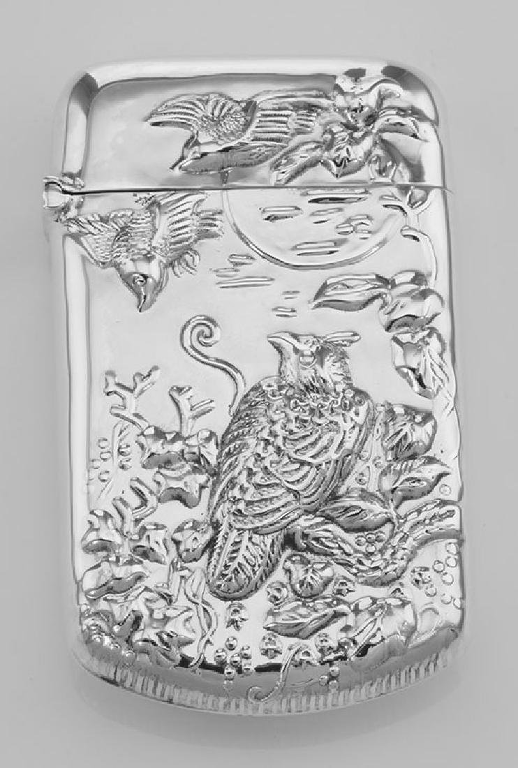 Repousse Wildlife Birds Match Safe Holder Vesta Case -