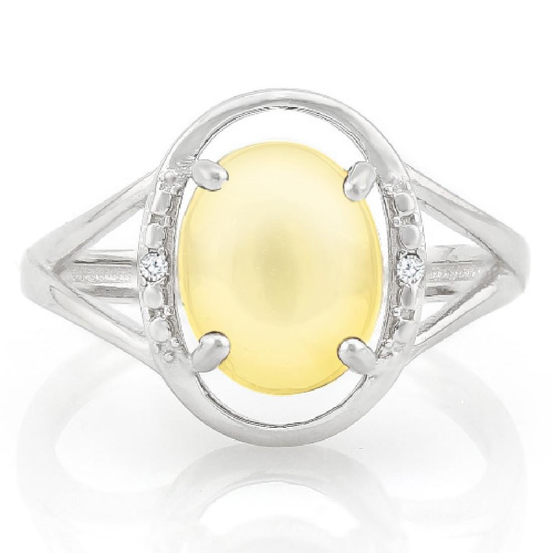 3 1/2 CARAT CABACHON CITRINE & DIAMOND 925 STERLING SIL