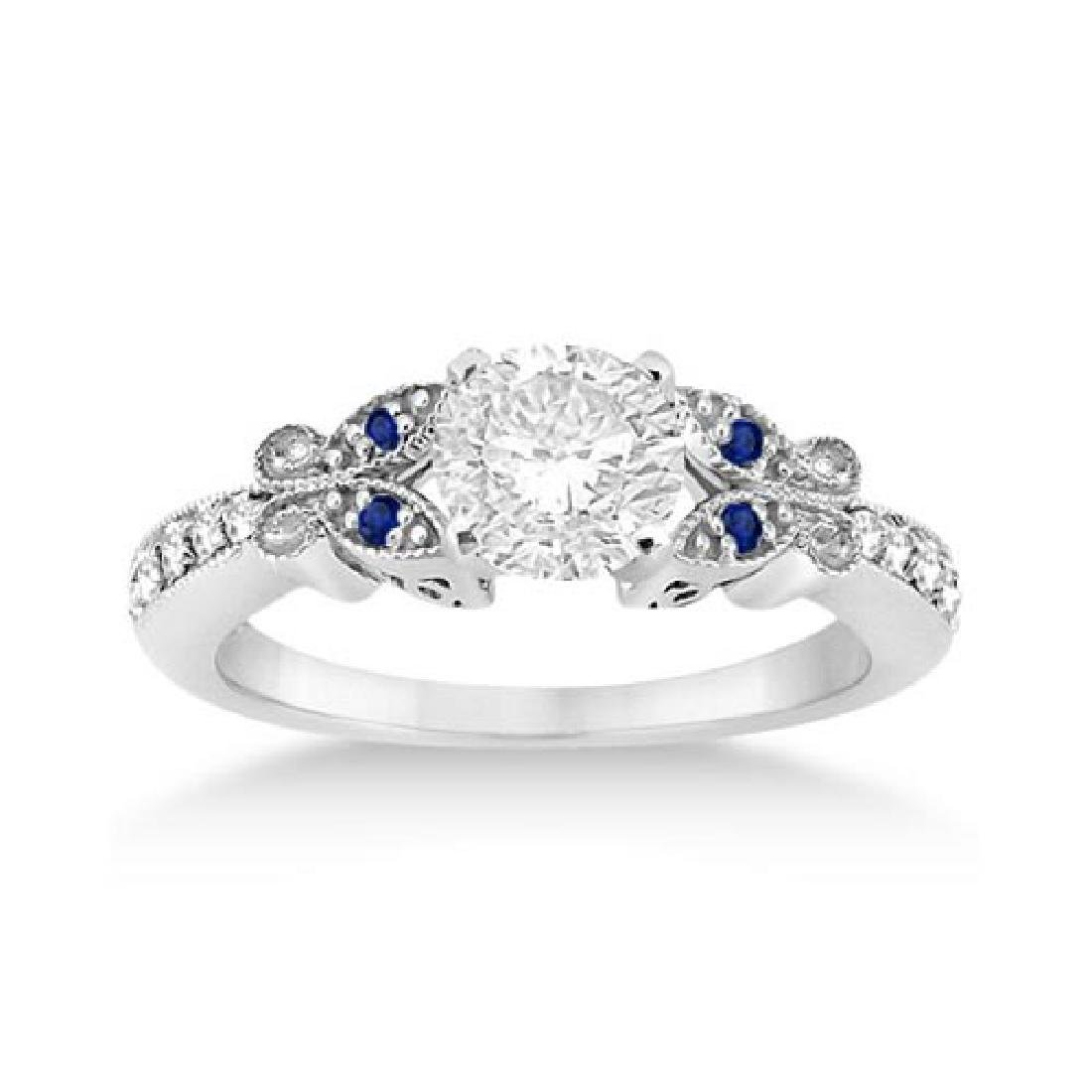 Butterfly Diamond and Sapphire Engagement Ring Settiong